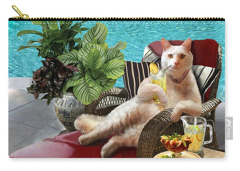 Funny White Cat With Tropical Drink In Paw Carry-all Pouch featuring the painting Funny Pet Vacationing Kitty by Regina Femrite