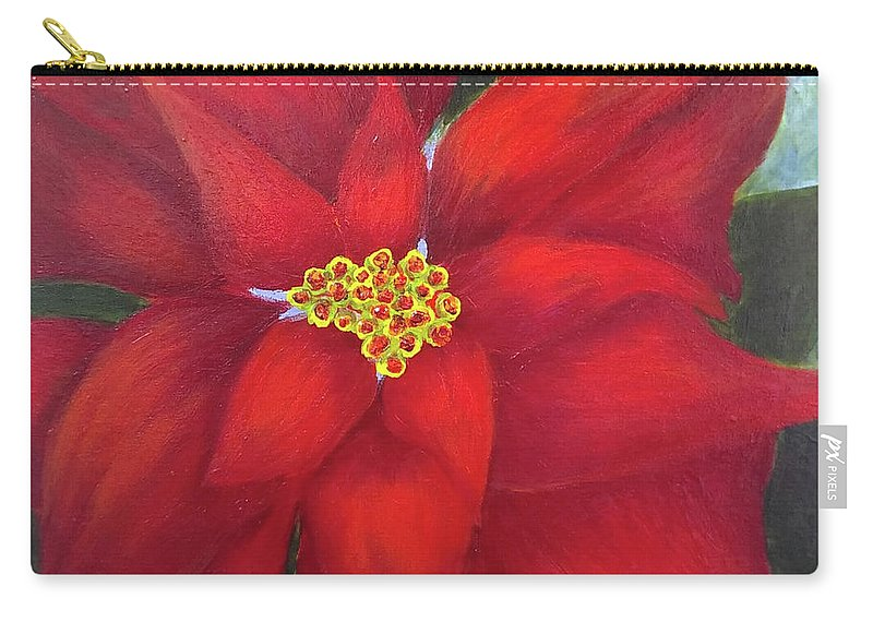 Flower Carry-all Pouch featuring the painting Funny Poinsettia by Marsha McAlexander