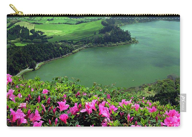 Azaleas Carry-all Pouch featuring the photograph Furnas Lake Azores by Gaspar Avila