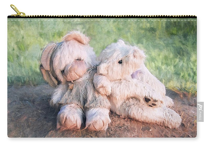 Toys Carry-all Pouch featuring the digital art Furry Friends by Anita Hubbard