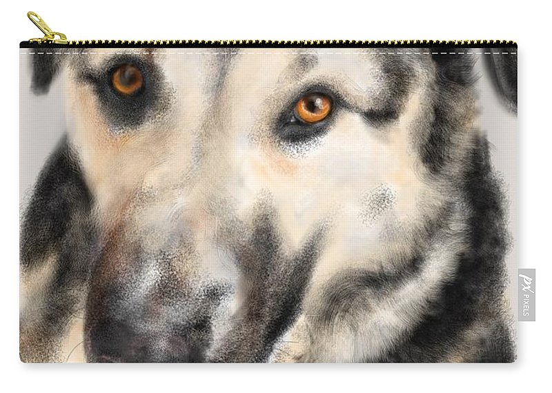 Animals Carry-all Pouch featuring the painting Furry Pooch by Lois Ivancin Tavaf