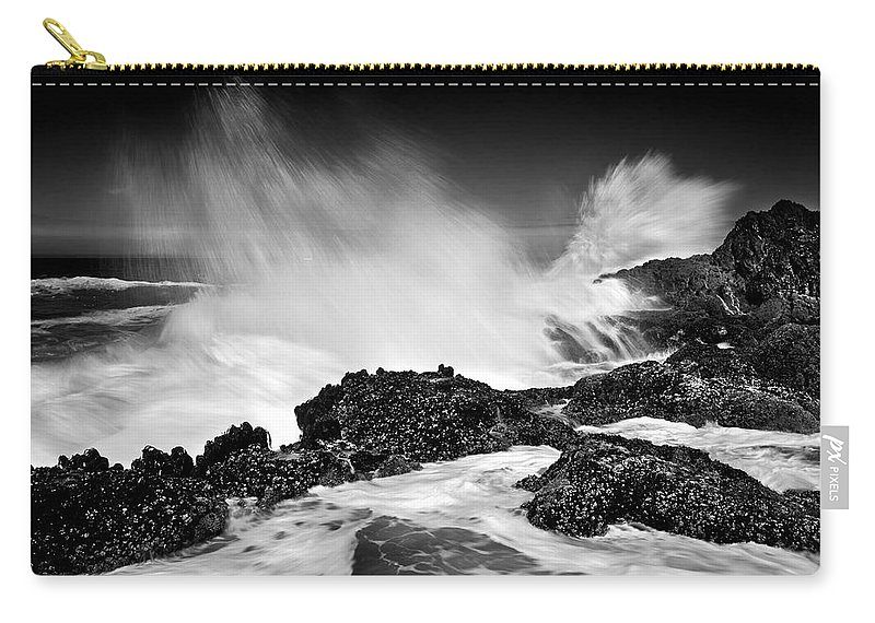 Waves Carry-all Pouch featuring the photograph Fury by Mike Dawson