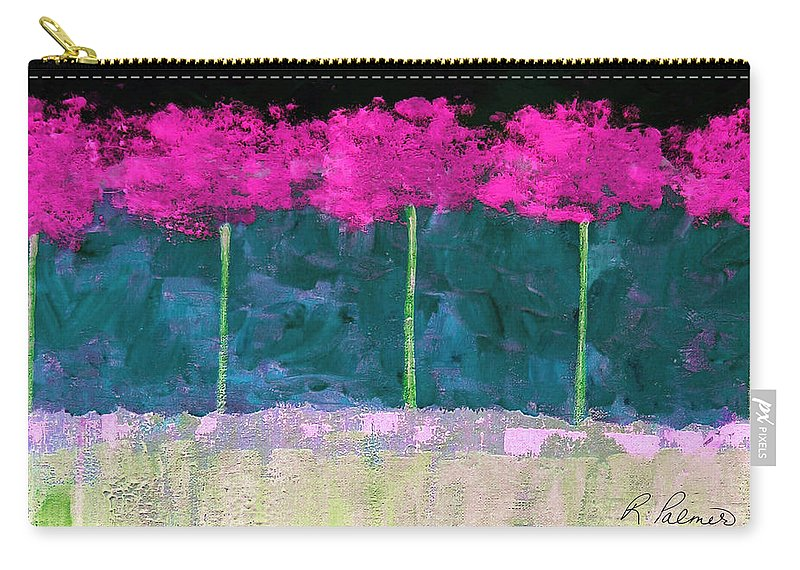 Abstract Carry-all Pouch featuring the painting Fuschia Trees by Ruth Palmer