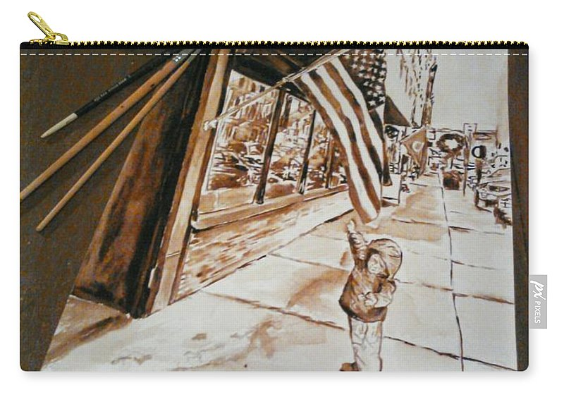#coffee4paint Carry-all Pouch featuring the painting Gabriel At Original Italian  by Nathanael Manzer
