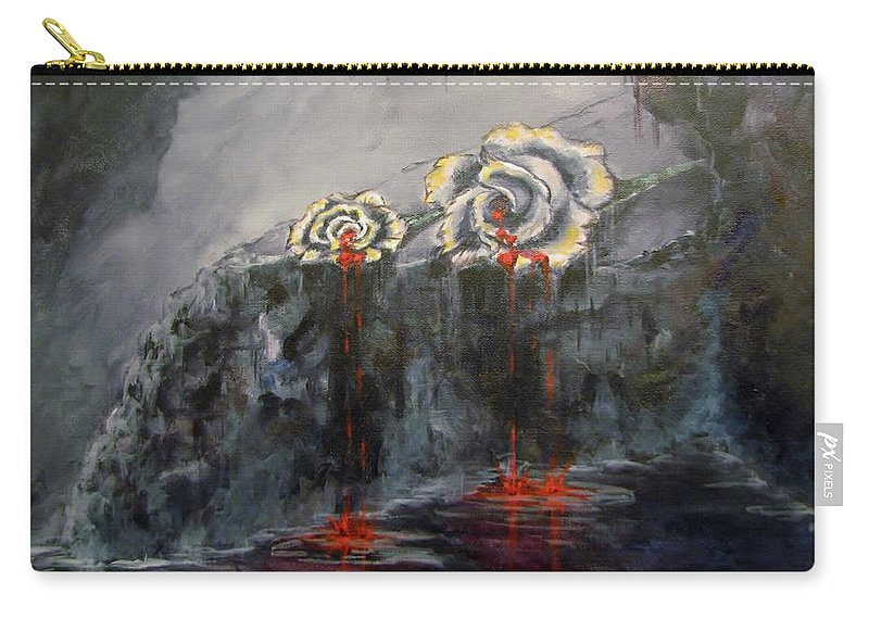 White/dying Roses; Tears Of Blood; Foggy Grotto Carry-all Pouch featuring the painting Gaia's Tears by Patricia Kanzler
