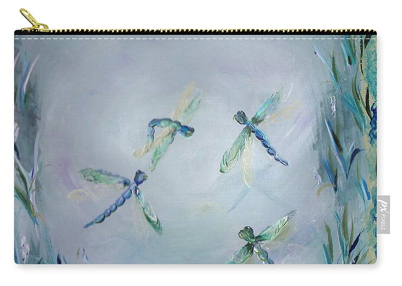 Dragonfly Carry-all Pouch featuring the painting Gairid Beatha by Jessica Mason