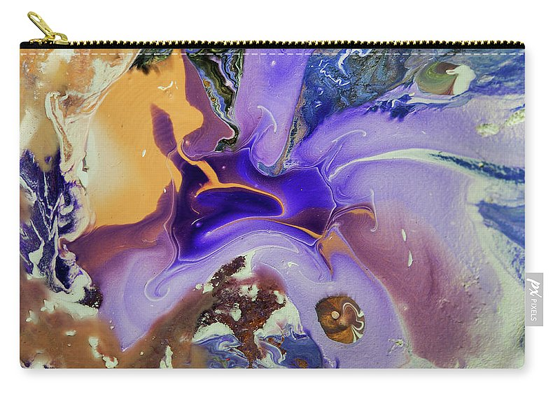 Jenny Rainbow Fine Art Photography Carry-all Pouch featuring the photograph Galactic Portal. Abstract Fluid Acrylic Pour by Jenny Rainbow