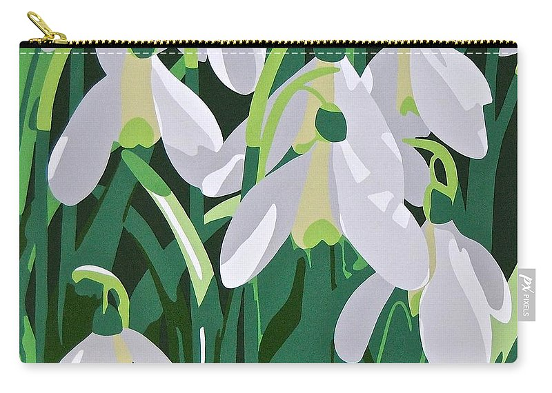 Flower Carry-all Pouch featuring the painting Galanthus by Susan Porter