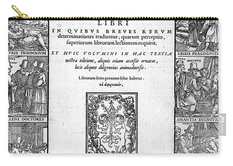 Historic Carry-all Pouch featuring the photograph Galen, Opera Omnia, Title Page, 1556 by Wellcome Images