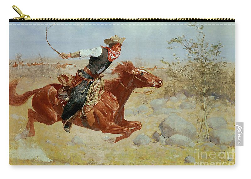 Galloping Horseman Carry-all Pouch featuring the painting Galloping Horseman by Frederic Remington