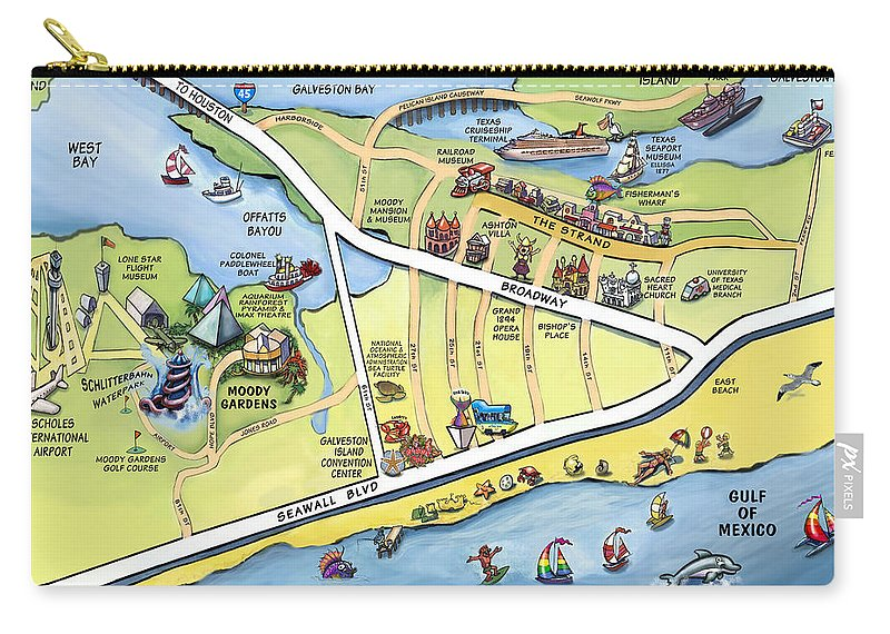 Galveston Carry-all Pouch featuring the digital art Galveston Texas Cartoon Map by Kevin Middleton