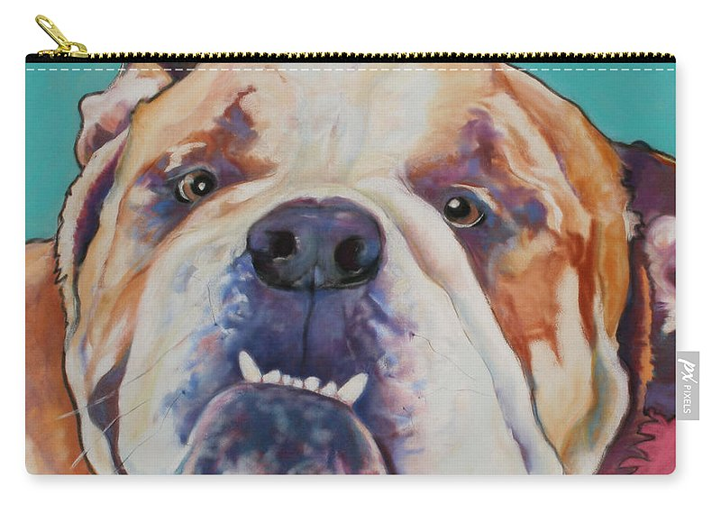 Pat Saunders-white Pet Portraits Carry-all Pouch featuring the painting Game Face  by Pat Saunders-White