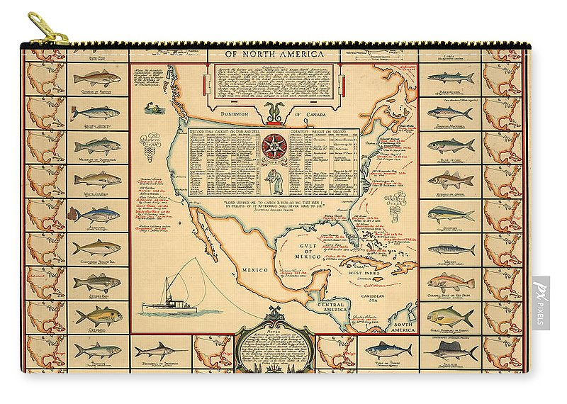 Angling Chart Of North America Carry-all Pouch featuring the drawing Game Fishing Chart of North America - Game Fish Varieties - Illustrated Map for Anglers by Studio Grafiikka