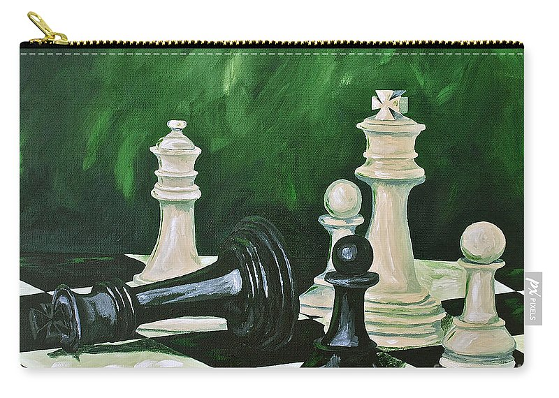 Toys / Games Kids Games Chess Game King Kids Toys Carry-all Pouch featuring the painting Game Over by Herschel Fall