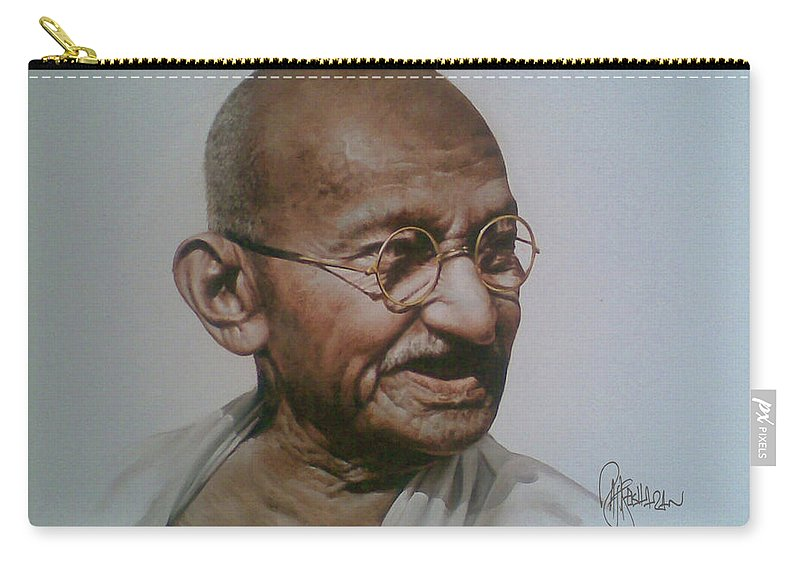 Figurative Carry-all Pouch featuring the painting Gandhiji by Rajasekharan Parameswaran