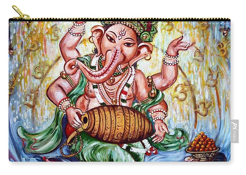 Ganesha Carry-all Pouch featuring the painting Ganesha Dancing And Playing Mridang by Harsh Malik