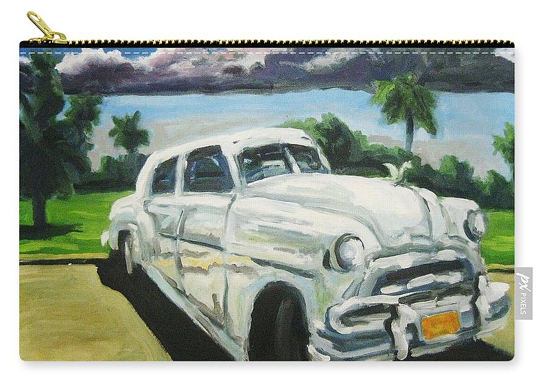 Old Cars Carry-all Pouch featuring the painting Gangsters On Vacation by John Malone