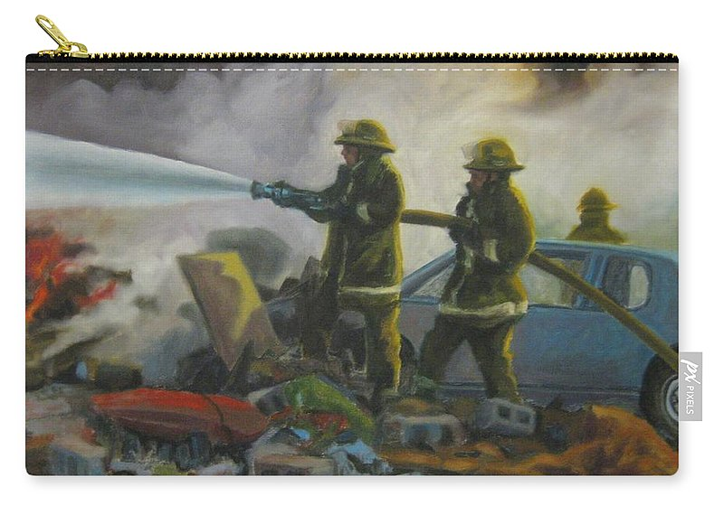 Firefighters Carry-all Pouch featuring the painting Garage Fire by John Malone
