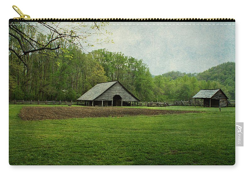 Barn Carry-all Pouch featuring the photograph Garden And Barn by Sandy Keeton