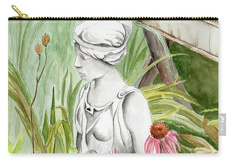 Watercolor Scenery Color Rural Garden Statue Woman Gardening Plants Flower Green Carry-all Pouch featuring the painting Garden Beauty by Brenda Owen