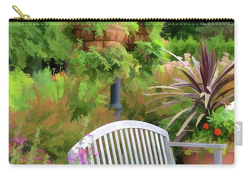Bench And Containers Carry-all Pouch featuring the painting Garden Benches 5 by Jeelan Clark