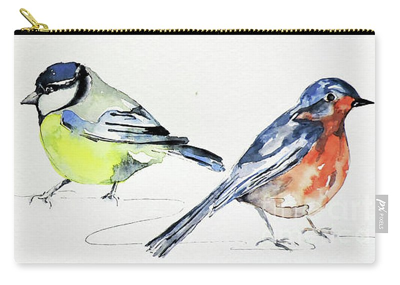Watercolour Painting Carry-all Pouch featuring the painting Garden Birds by Sharon Cox