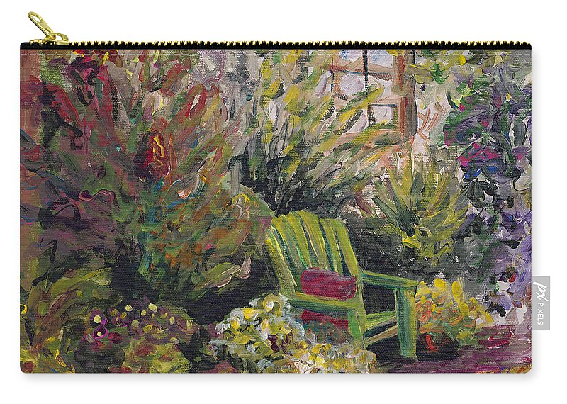Green Carry-all Pouch featuring the painting Garden Escape by Nadine Rippelmeyer
