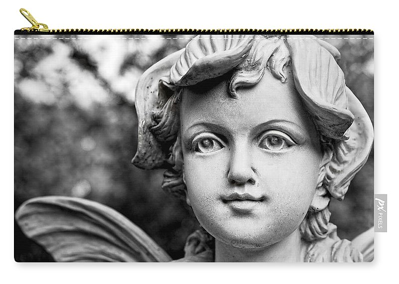 Statue Carry-all Pouch featuring the photograph Garden Fairy - Bw by Christopher Holmes