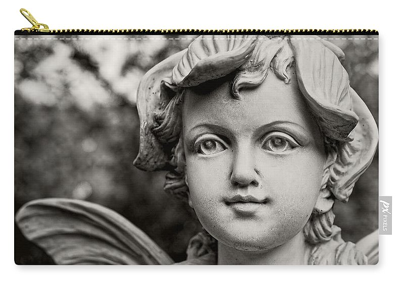 Fairy Carry-all Pouch featuring the photograph Garden Fairy - Sepia by Christopher Holmes