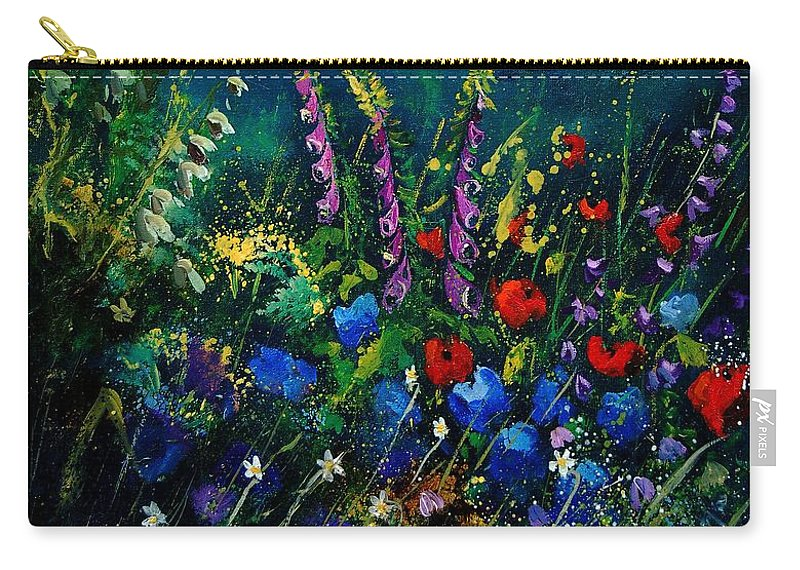 Flowers Carry-all Pouch featuring the painting Garden Flowers 56 by Pol Ledent