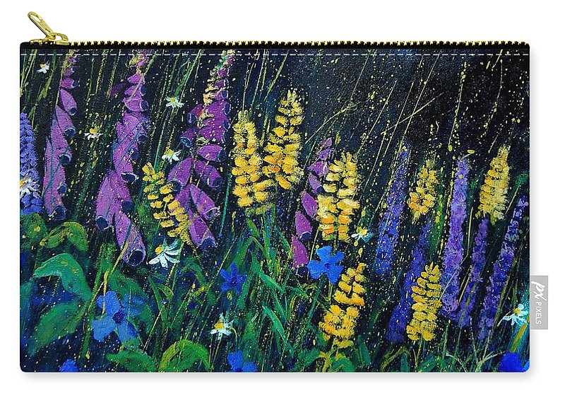 Flowers Carry-all Pouch featuring the painting Garden Flowers 679080 by Pol Ledent