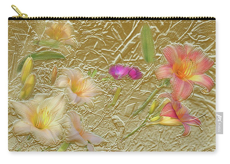 Garden Carry-all Pouch featuring the mixed media Garden in Gold Leaf2 by Steve Karol