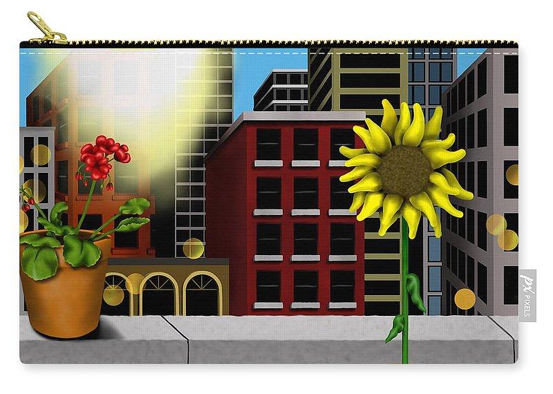 Surrealism Carry-all Pouch featuring the digital art Garden Landscape II - Across The Urban Jungle by Robert Morin