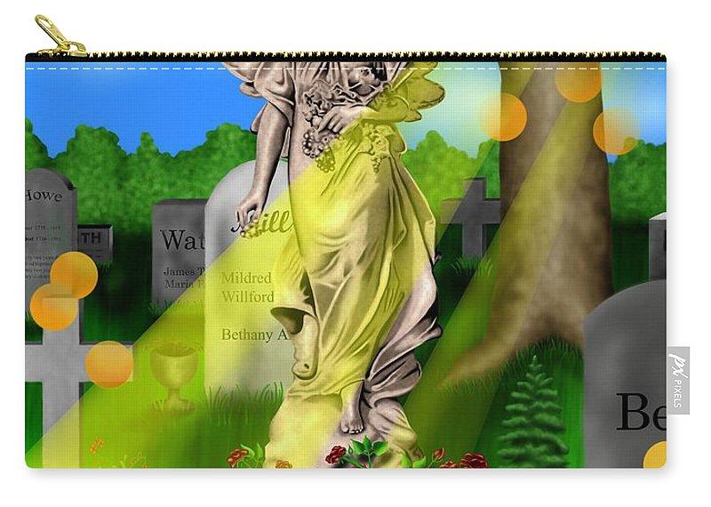 Surrealism Carry-all Pouch featuring the digital art Garden Landscape III a - Where The Dead Sleep by Robert Morin