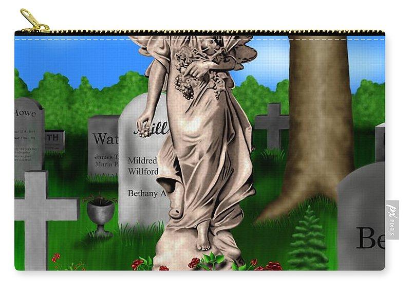 Surrealism Carry-all Pouch featuring the digital art Garden Landscape III b - Where The Dead Sleep by Robert Morin