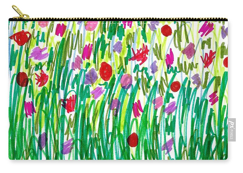 Doodle Art Carry-all Pouch featuring the drawing Garden Of Flowers by Susan Schanerman