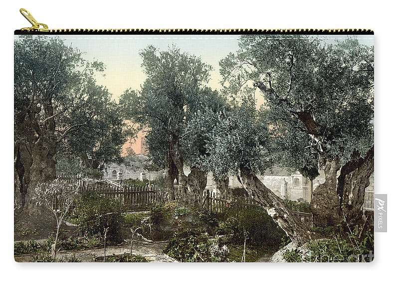 1900 Carry-all Pouch featuring the photograph Garden Of Gethsemane by Granger