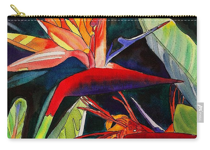Bird Carry-all Pouch featuring the painting Garden Of Paradise by Marionette Taboniar