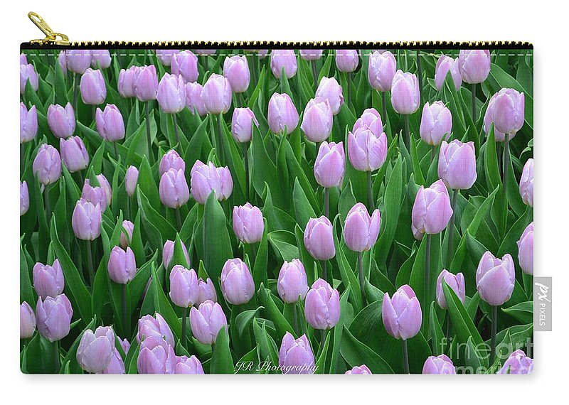Garden Of Pink Tulips Carry-all Pouch featuring the photograph Garden Of Pink Tulips by Jeannie Rhode