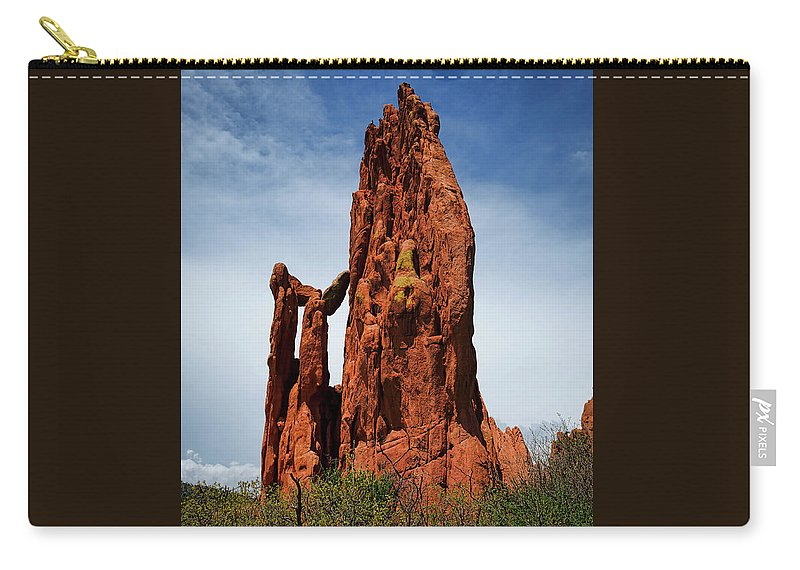 Awe Carry-all Pouch featuring the photograph Garden Of The Gods Tower Formation by Edward Moorhead