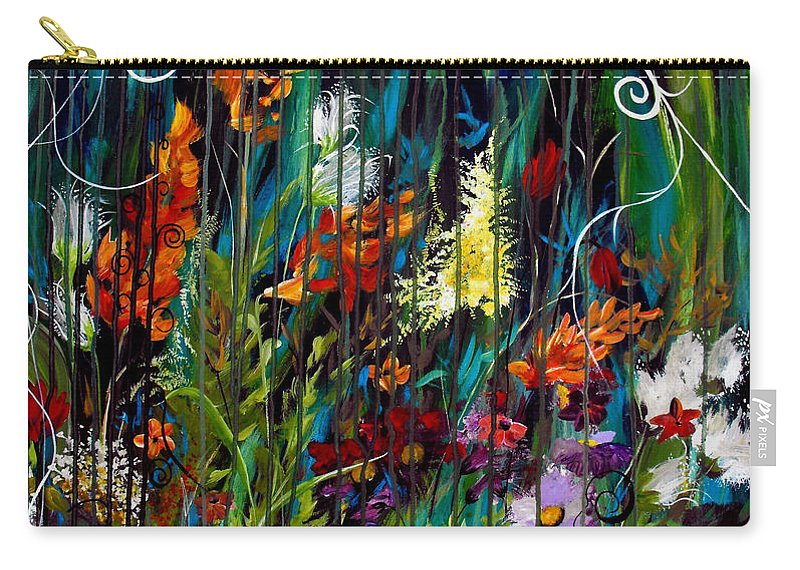 Abstract Carry-all Pouch featuring the painting Garden Of Wishes by Ruth Palmer