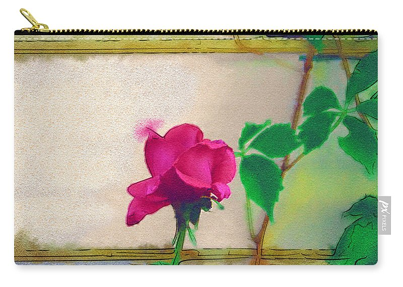 Rose Carry-all Pouch featuring the digital art Garden Rose by Holly Ethan