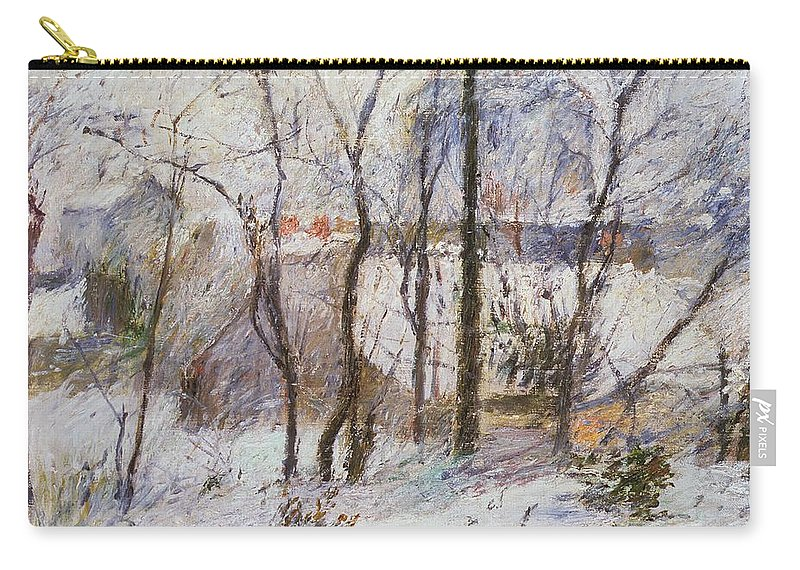 Garden Under Snow Carry-all Pouch featuring the painting Garden Under Snow by Paul Gauguin