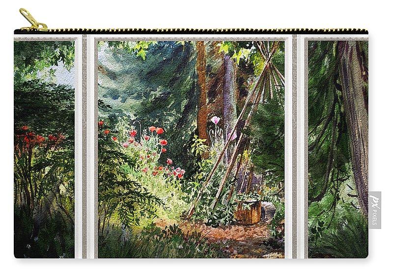 Landscape Carry-all Pouch featuring the painting Garden View Window by Irina Sztukowski