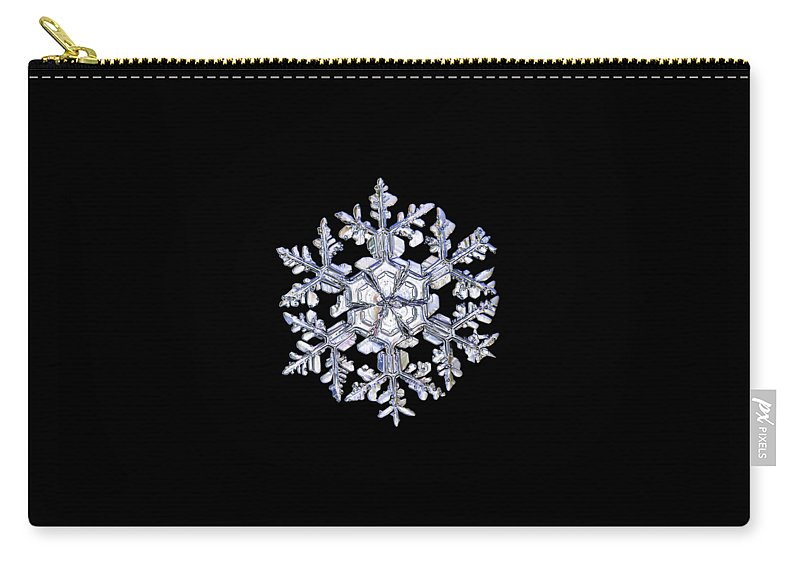 Snowflake Carry-all Pouch featuring the photograph Gardener's Dream, White On Black Version by Alexey Kljatov