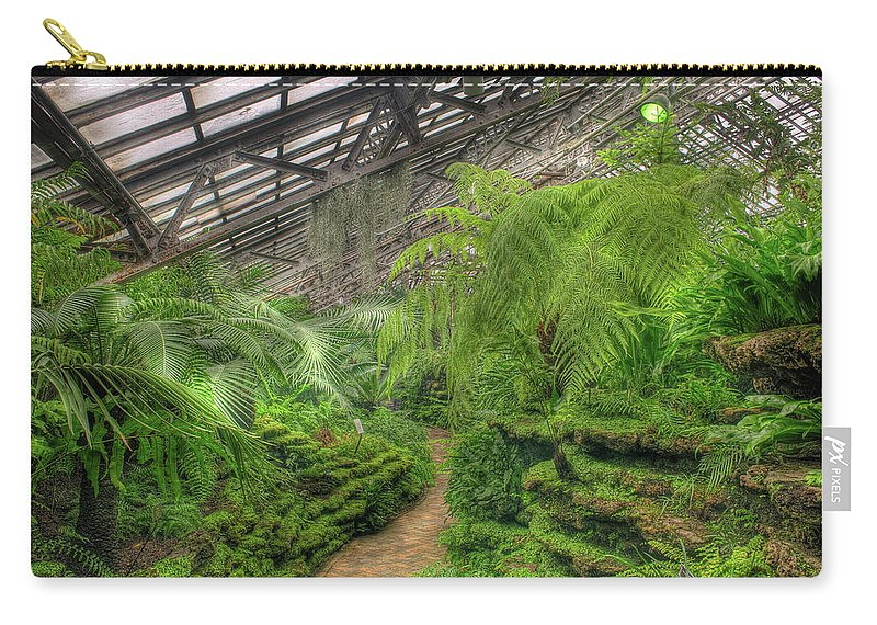 Garfield Carry-all Pouch featuring the photograph Garfield Park Conservatory Path Chicago by Steve Gadomski