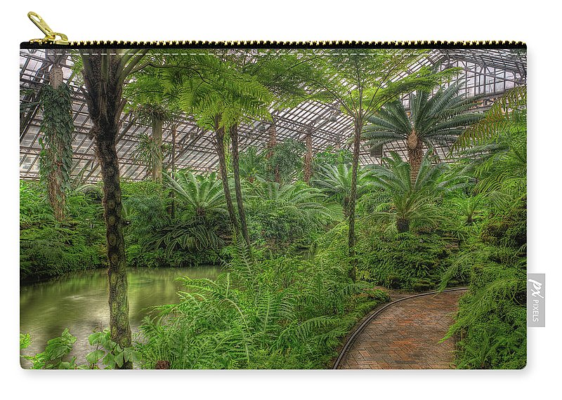 Chicago Carry-all Pouch featuring the photograph Garfield Park Conservatory Pond And Path Chicago by Steve Gadomski