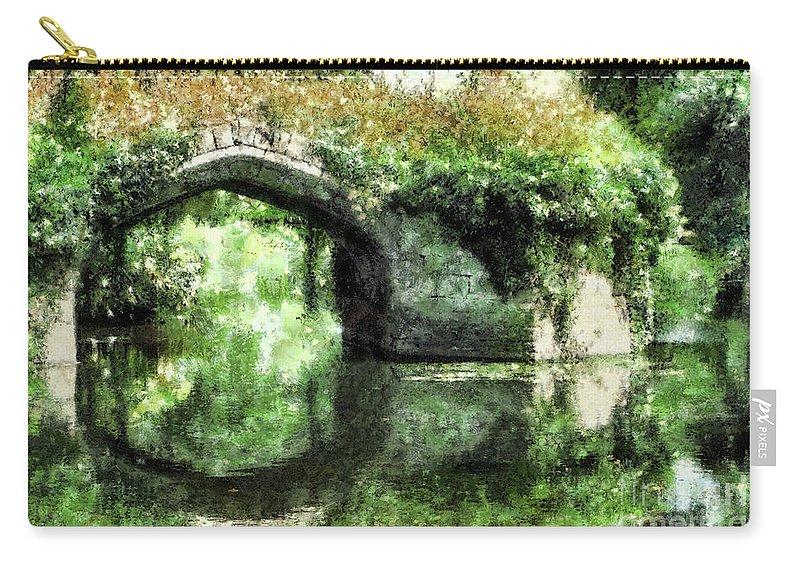 Arch Carry-all Pouch featuring the digital art Garlanded Arch by Ann Garrett