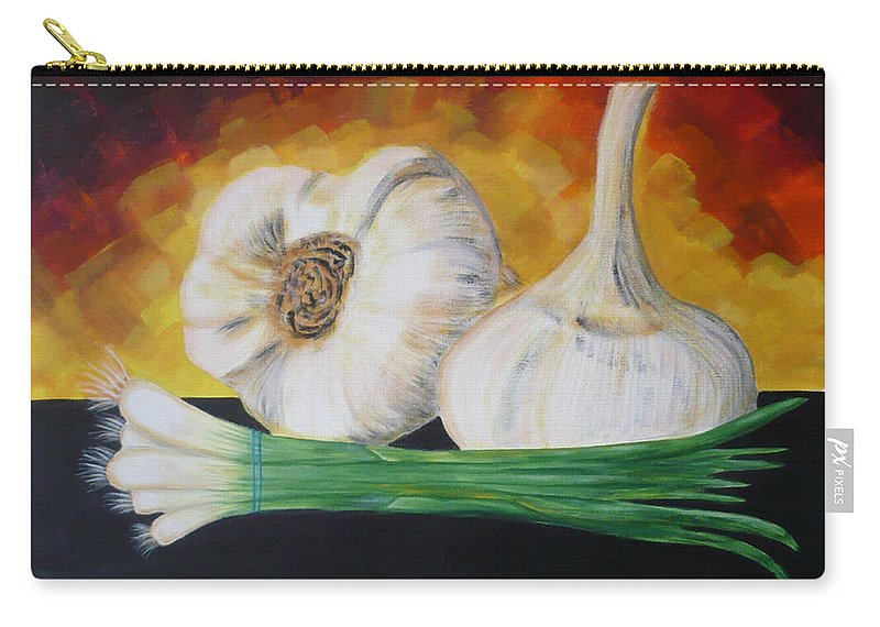Garlic Carry-all Pouch featuring the painting Garlic And Onion by Monika Shepherdson