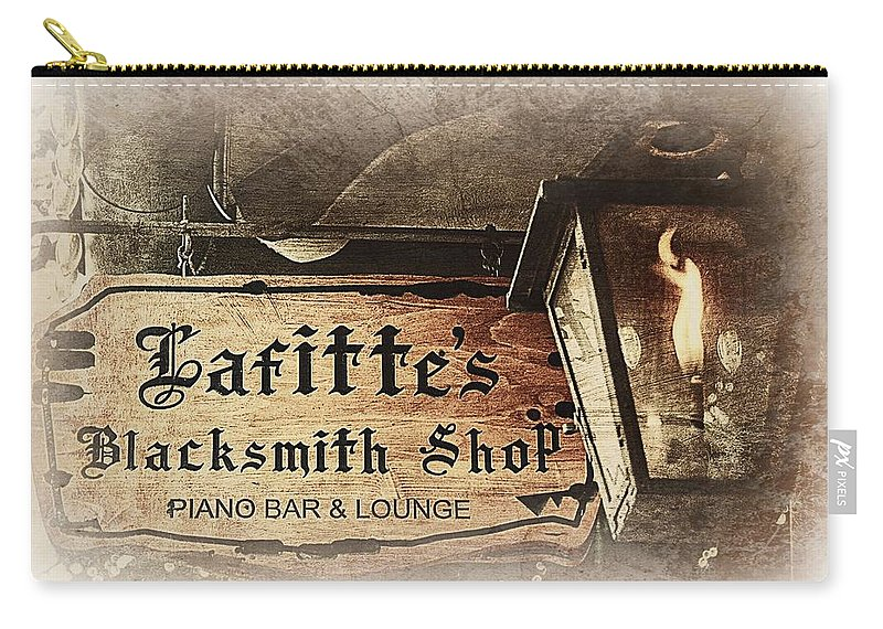 Gas Lights Carry-all Pouch featuring the photograph Gas Light At Lafitte's Blacksmith Shop by Toni Abdnour